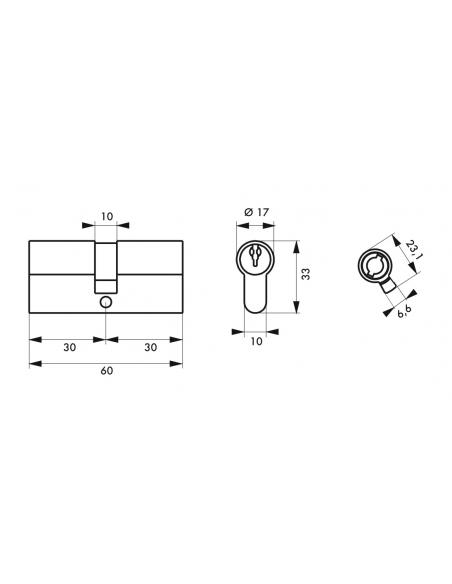 Lot de 3 cylindres de serrure double entrée, 30x30mm, anti-arrachement, s'entrouvrant, nickel, 3 clés/cylindre - THIRARD Cyli...