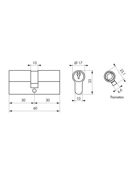 Lot de 3 cylindres de serrure double entrée, 30x30mm, anti-arrachement, s'entrouvrant, laiton, 3 clés/cylindre - THIRARD Cyli...