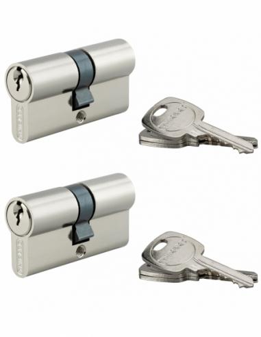 Lot de 2 cylindres de serrure double entrée, 30x30mm, anti-arrachement, s'entrouvrant, nickel, 3 clés/cylindre - THIRARD Cyli...