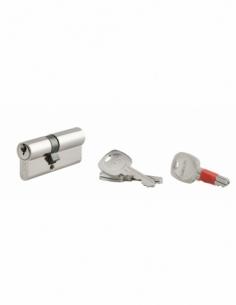 Cylindre de serrure double entrée clé modifiable, 30x40mm, anti-arrachement, anti-perçage, nickel, 2x3 clés - THIRARD Cylindr...