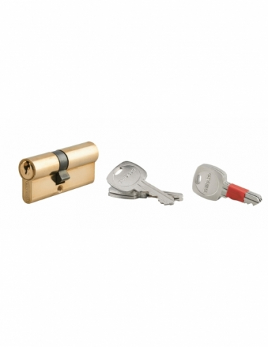 Cylindre de serrure double entrée clé modifiable, 30x40mm, anti-arrachement, anti-perçage, laiton, 2x3 clés - THIRARD Cylindr...