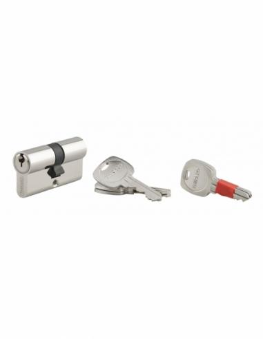Cylindre de serrure à bouton clé modifiable, 30Bx30mm, anti-arrachement, anti-perçage, nickel, 2x3 clés - THIRARD Cylindre de...