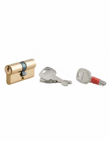Cylindre de serrure double entrée clé modifiable, 30x30mm, anti-arrachement, anti-perçage, laiton, 2x3 clés - THIRARD Cylindr...
