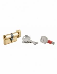 Cylindre de serrure à bouton clé modifiable, 30Bx30mm, anti-arrachement, anti-perçage, laiton, 2x3 clés - THIRARD Cylindre de...