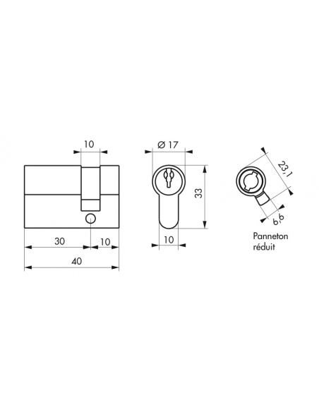 Cylindre 30 x 10 mm panneton ESP 3 clés nickelé - THIRARD Cylindre de serrure