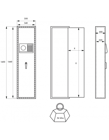 Armoire à fusil Cardiff, fermeture électronique à code, 2 pênes, capacité de 5 fusils - THIRARD Coffre fort