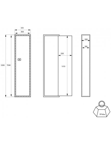 Armoire à fusil Brissac, fermeture par clé, 2 pênes, capacité de 5 fusils - THIRARD Coffre fort