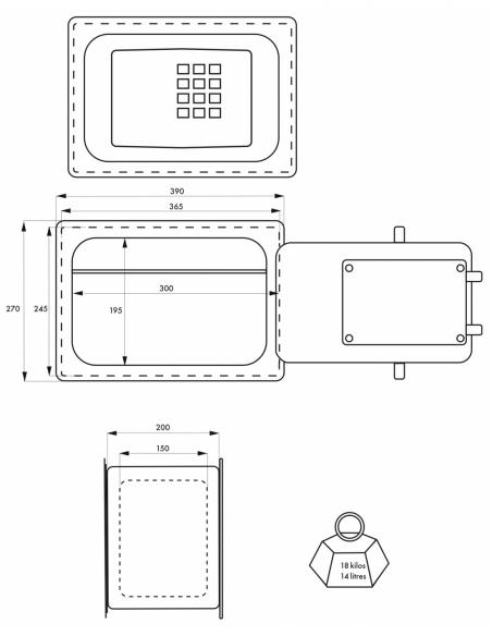 Coffre-fort à emmurer Windsor, fermeture électronique à code, 4 pênes, 14L - THIRARD Coffre fort
