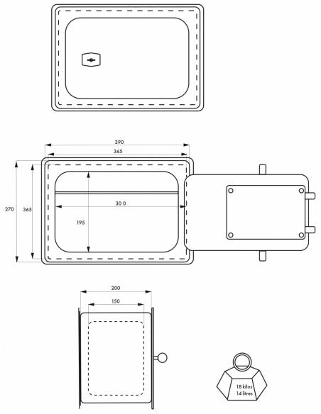 Coffre-fort à emmurer Falaise, fermeture par clé, 4 pênes, 14L - THIRARD Coffre fort