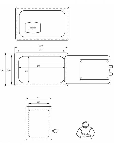 Coffret de sécurité à poser Frontenac, fermeture par clé, 2 pênes, 8.5L - THIRARD Coffre fort
