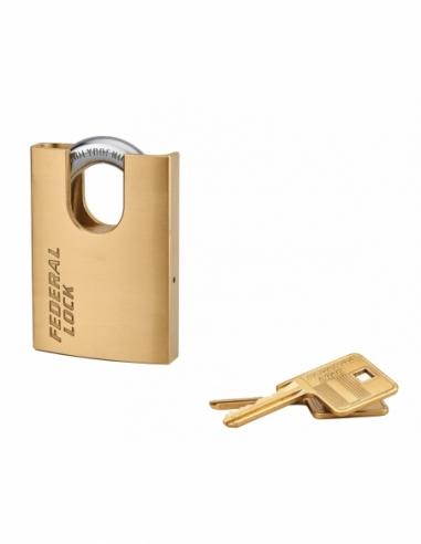 Cadenas à clé Fédéral Lock 530-P, laiton, chantier, anse protégée acier, 60mm, 2 clés - THIRARD Cadenas
