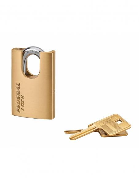 Cadenas à clé Fédéral Lock 520-P, laiton, chantier, anse protégée acier, 50mm, 2 clés - THIRARD Cadenas