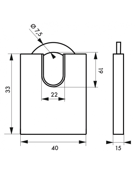 Cadenas à clé Fédéral Lock 510-P, laiton, chantier, anse protégée acier, 40mm, 2 clés - THIRARD Cadenas