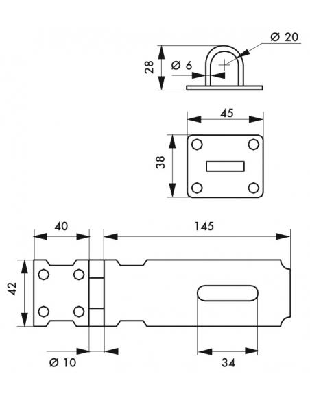 Porte cadenas pour fermeture de coffre et porte, 150mm, acier, zingué - THIRARD Cadenas