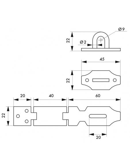 Porte-cadenas à recouvrement pour coffre et porte, acier, 100mm, zingué - THIRARD Cadenas