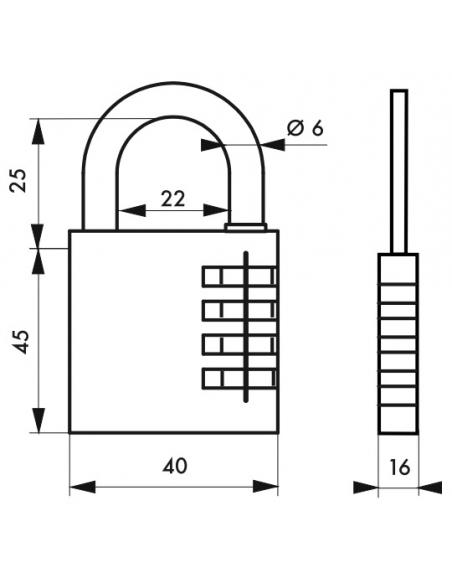 Cadenas à combinaison RB, laiton, 3 chiffres, intérieur, anse acier, 40mm - THIRARD Cadenas