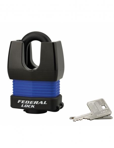 Cadenas à clé Fédéral Lock Docker, extérieur, acier cémenté, double verrouillage, 55mm, 2 clés - THIRARD Cadenas