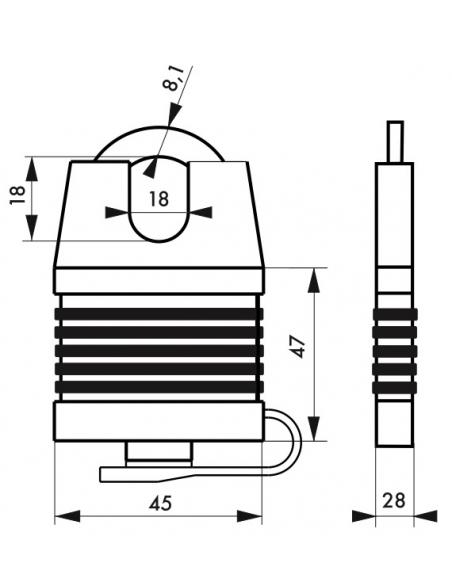 Cadenas à clé Fédéral Lock Docker, extérieur, acier cémenté, double verrouillage, 45mm, 2 clés - THIRARD Cadenas
