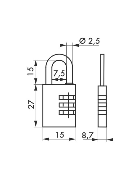 Cadenas à code 158, bagage, 15mm, 3 chiffres - THIRARD Cadenas