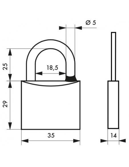 Cadenas à clé Mach 3, laiton, extérieur, anse acier, 50mm, 3 clés - THIRARD Cadenas
