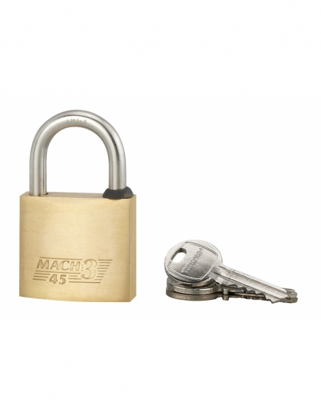 Cadenas à clé Mach 3, laiton, extérieur, anse acier, 45mm, 3 clés - THIRARD Cadenas
