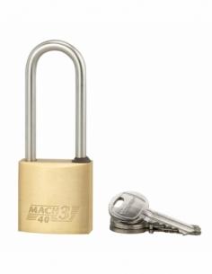 Cadenas à clé Mach 3, laiton, extérieur, anse 1/2 acier, 40mm, 3 clés - THIRARD Cadenas