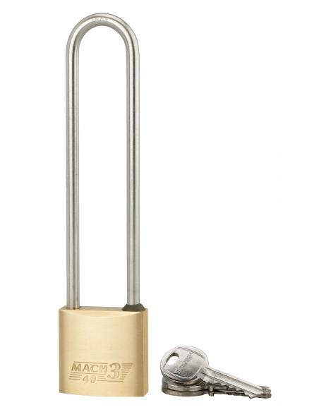 Cadenas à clé Mach 3, laiton, extérieur, anse haute acier, 40mm, 3 clés - THIRARD Cadenas