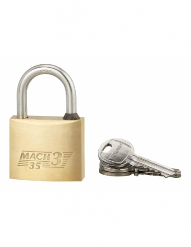 Cadenas à clé Mach 3, laiton, extérieur, anse acier, 35mm, 3 clés - THIRARD Cadenas