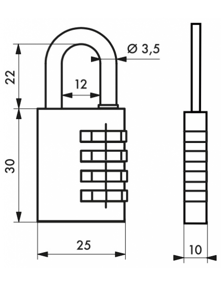 Cadenas à combinaison Venus, 3 chiffres, intérieur, anse acier, 25mm - THIRARD Cadenas