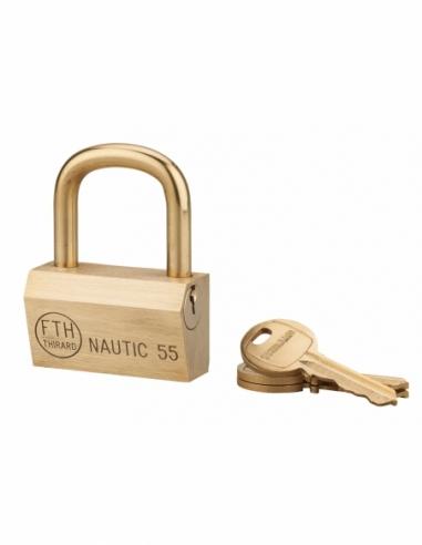 Cadenas à clé Nautic, laiton, extérieur, anse laiton, 55mm, 3 clés - THIRARD Cadenas
