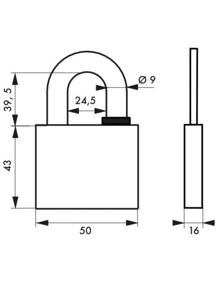 Cadenas à clé Reverso, laiton, extérieur, anse acier, 50mm, 4 clés - THIRARD Cadenas