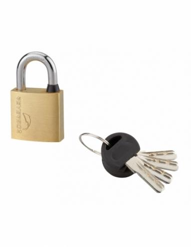 Cadenas à clé Reverso, laiton, extérieur, anse acier, 30mm, 4 clés - THIRARD Cadenas