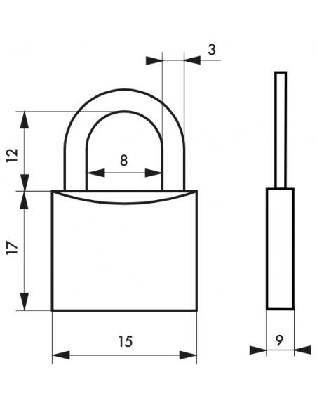 Cadenas à clé Type 1, bagage, anse acier, 15mm, 2 clés - THIRARD Cadenas