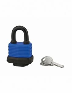 Cadenas à clé Slice, extérieur, 40mm, gainé PVC, 2 clés laiton nickelé - THIRARD Cadenas
