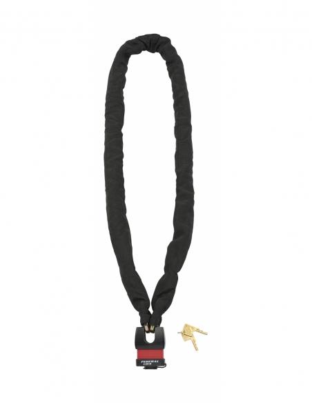 Chaîne acier gainé nylon Loops, vélo, moto, barrières, 1.5m, noir, cadenas, 2 clés - THIRARD Antivol