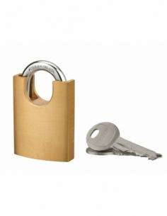 Cadenas à clé, extérieur, 40mm, protecteur d'anse épaulé, 2 clés acier nickelé - THIRARD Cadenas