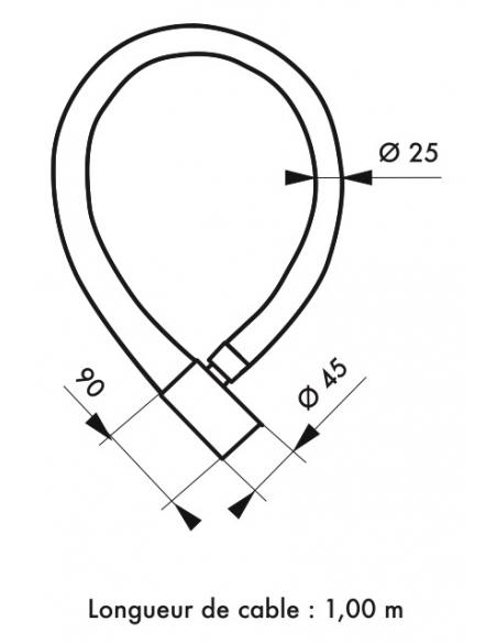 Antivol à clé Scorp, câble blindé acier, vélo, 25mmx1.2m, 2 clés, noir - THIRARD Antivol