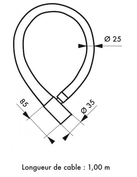 Antivol à clé Scorp, câble acier, vélo, 25mmx1m, 2 clés, noir - THIRARD Antivol