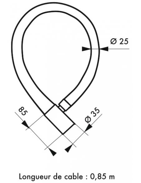 Antivol à clé Scorp, câble acier, vélo, 25mmx0.85m, 2 clés, noir - THIRARD Antivol
