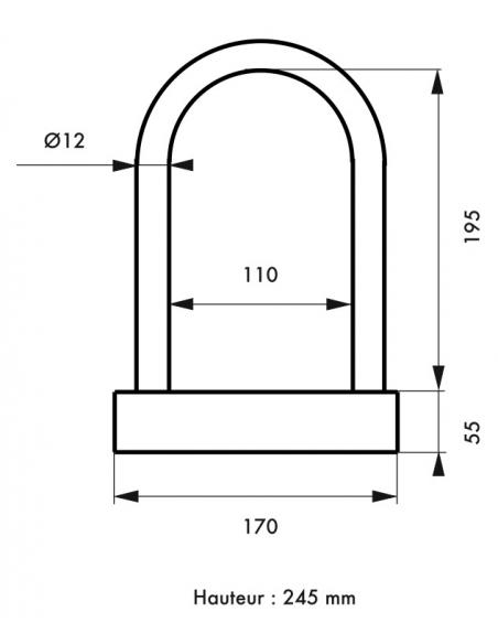 Antivol U anse acier gaînée, Ø12mm, largeur 170mm, hauteur 245mm - THIRARD Antivol