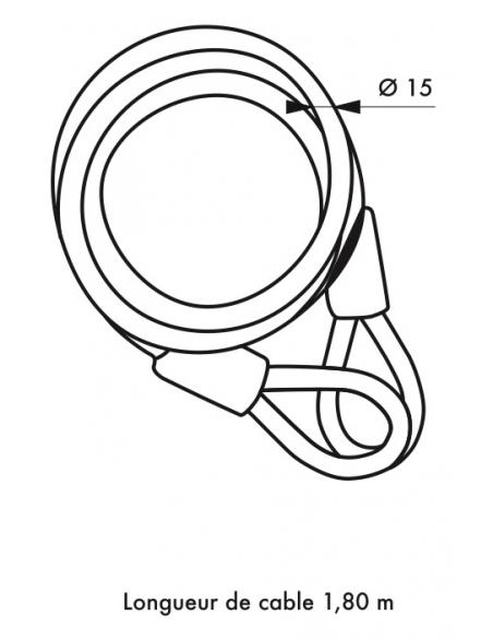 Câble antivol Twisty, vélo, abris de jardin, Ø 15, 1.80m, acier gaine PVC - THIRARD Antivol