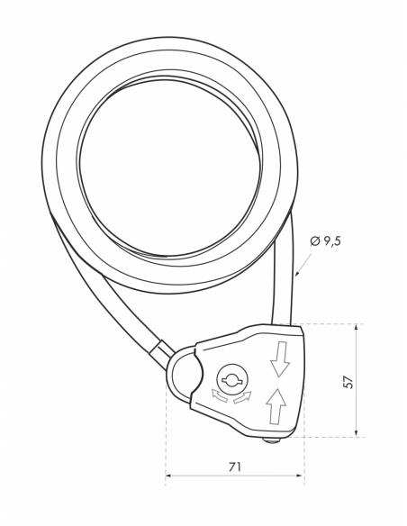 Antivol à clé Twisty, vélo, abris de jardin, câble acier gaine PVC ajustable, Ø 10, 1.80m, 2 clés - THIRARD Antivol