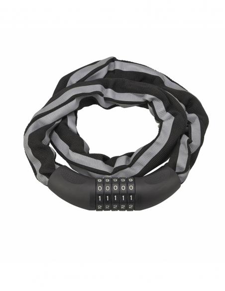 Antivol à combinaison Biker, 5 chiffres, chaîne acier, moto, 0.9m, noir - THIRARD Antivol