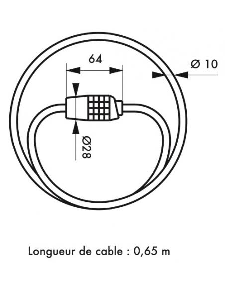 Antivol à combinaison Twisty, 4 chiffres, câble acier, vélo, 10mmx1.8m, noir - THIRARD Antivol