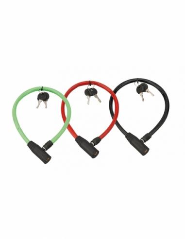 Lot de 3 antivols à clé Twisty, câble acier, vélo, 5mmx0.5m, 2 clés - THIRARD Antivol