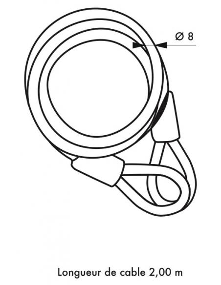 Câble antivol Twisty, vélo, abris de jardin, Ø 8, 2.00m, acier gaine PVC - THIRARD Antivol
