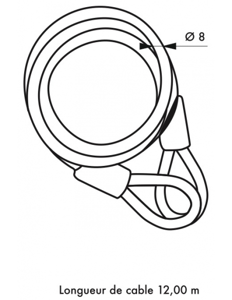 Câble antivol Twisty, vélo, abris de jardin, Ø 8, 12.00m, acier gaine PVC - THIRARD Antivol