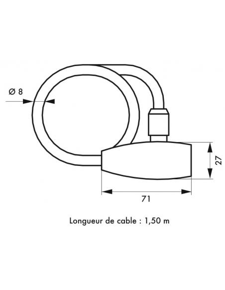 Antivol à clé Twisty, câble acier, vélo, 8mmx1.5m, 2 clés - THIRARD Antivol