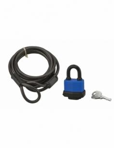 Câble Twisty acier 6mmx1.8m avec cadenas 40mm, vélo, 2 clés, noir - THIRARD Antivol