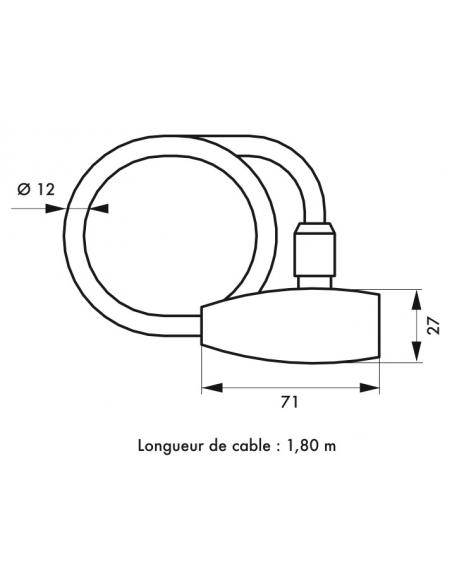 Antivol à clé Twisty, câble acier, vélo, 12mmx1.8m, 2 clés, noir - THIRARD Antivol